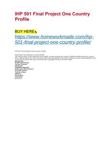 IHP 501 Final Project One Country Profile