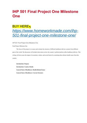 IHP 501 Final Project One Milestone One