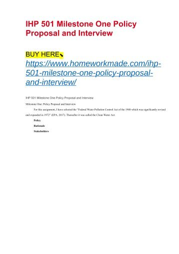 IHP 501 Milestone One Policy Proposal and Interview