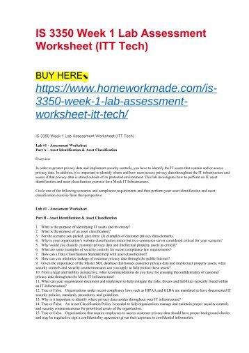 IS 3350 Week 1 Lab Assessment Worksheet (ITT Tech)