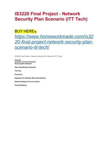 IS3220 Final Project - Network Security Plan Scenario (ITT Tech)