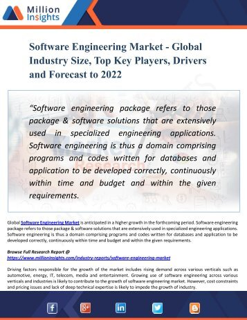 Software Engineering Market Key Players, Industry Overview, Supply and Consumption Demand Analysis to 2022
