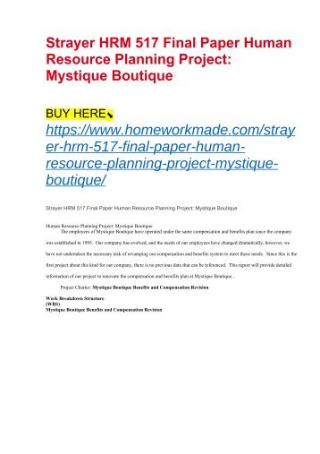 Strayer HRM 517 Final Paper Human Resource Planning Project- Mystique Boutique