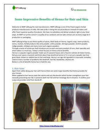 Some Impressive Benefits of Henna for Hair and Skin