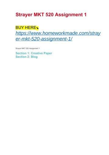 Strayer MKT 520 Assignment 1
