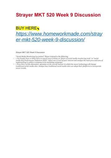 Strayer MKT 520 Week 9 Discussion