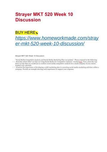 Strayer MKT 520 Week 10 Discussion