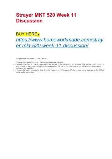Strayer MKT 520 Week 11 Discussion