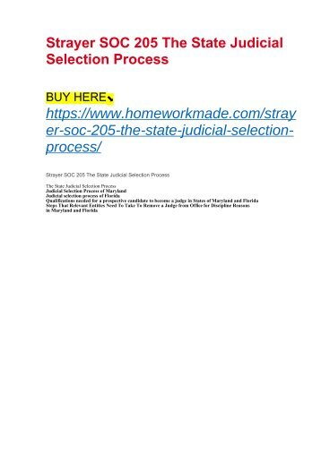 Strayer SOC 205 The State Judicial Selection Process