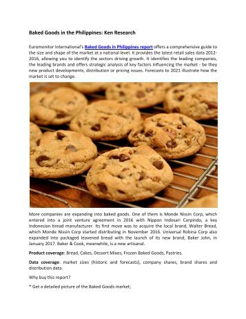 Philippines Baked Goods Market Future Outlook-Ken Research