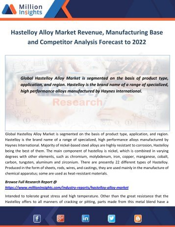 Hastelloy Alloy Market Revenue, Manufacturing Base and Competitor Analysis Forecast to 2022
