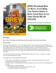 [PDF] Download How To Brew: Everything You Need to Know to Brew Great Beer Every Time Ebook READ ONLINE