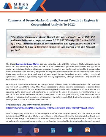 Commercial Drone Market Growth, Recent Trends by Regions & Geographical Analysis To 2022