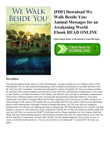 [PDF] Download We Walk Beside You: Animal Messages for an Awakening World Ebook READ ONLINE