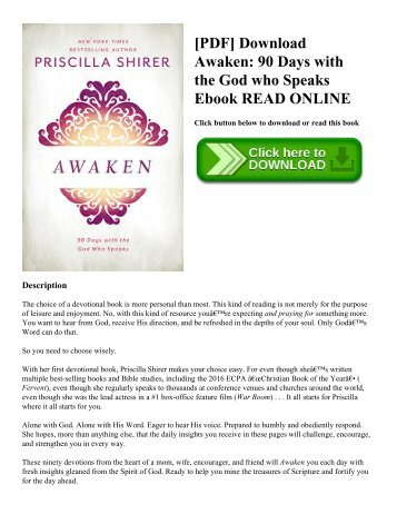 [PDF] Download Awaken: 90 Days with the God who Speaks Ebook READ ONLINE