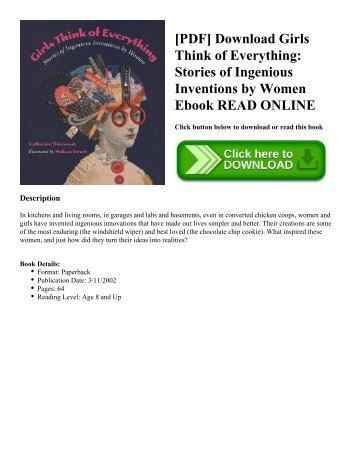 [PDF] Download Girls Think of Everything: Stories of Ingenious Inventions by Women Ebook READ ONLINE