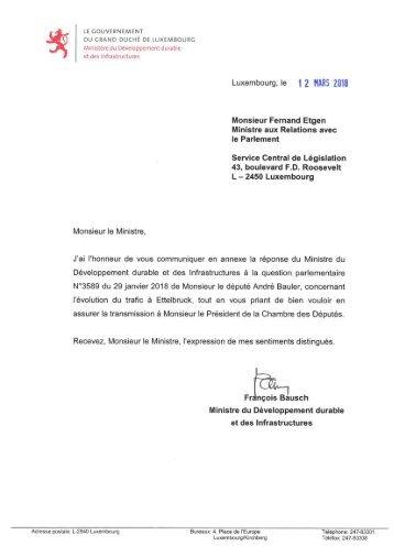 Réponse de Monsieur François Bausch à la question parlementaire n° 3589 du 29 janvier 2018