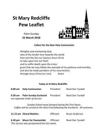 St Mary Redcliffe Church Pew Leaflet - March 25 2018
