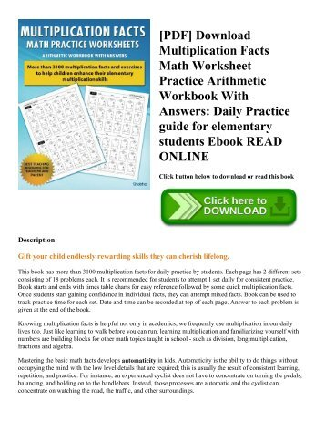 [PDF] Download Multiplication Facts Math Worksheet Practice Arithmetic Workbook With Answers: Daily Practice guide for elementary students Ebook READ ONLINE