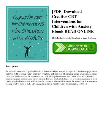 [PDF] Download Creative CBT Interventions for Children with Anxiety Ebook READ ONLINE