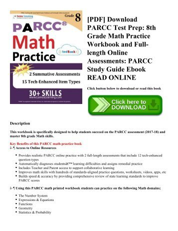 [PDF] Download PARCC Test Prep: 8th Grade Math Practice Workbook and Full-length Online Assessments: PARCC Study Guide Ebook READ ONLINE