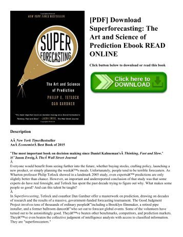 [PDF] Download Superforecasting: The Art and Science of Prediction Ebook READ ONLINE