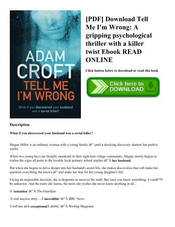 [PDF] Download Tell Me I'm Wrong: A gripping psychological thriller with a killer twist Ebook READ ONLINE