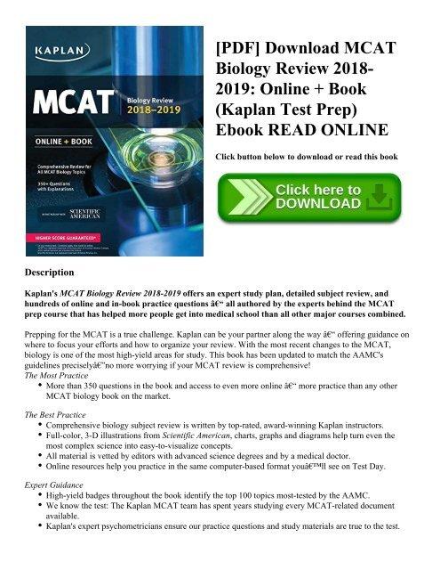 PDF] Download MCAT Biology Review 2018-2019: Online + Book (Kaplan