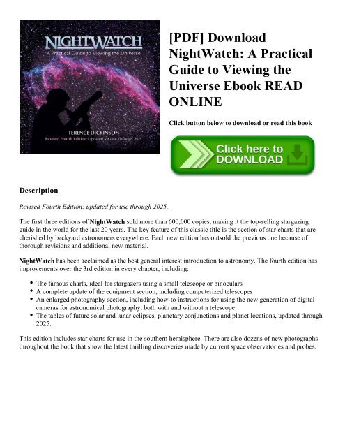Nightwatch: a practical guide to viewing the universe by.