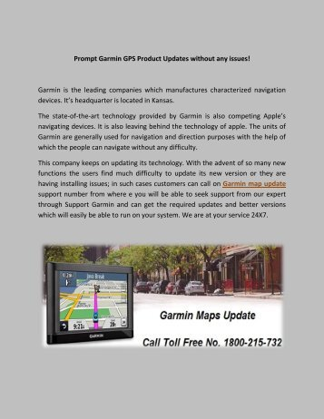 Garmin GPS Maps Update Toll Free Number 1800-215-732 GPS Help