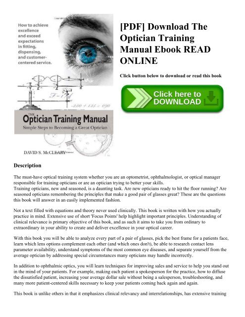 Download the optician training manual david mccleary [ready].