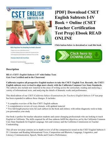[PDF] Download CSET English Subtests I-IV Book + Online (CSET Teacher Certification Test Prep) Ebook READ ONLINE