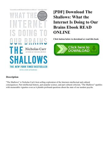 [PDF] Download The Shallows: What the Internet Is Doing to Our Brains Ebook READ ONLINE