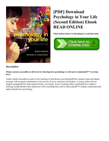 [PDF] Download Psychology in Your Life (Second Edition) Ebook READ ONLINE