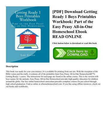 [PDF] Download Getting Ready 1 Boys Printables Workbook: Part of the Easy Peasy All-in-One Homeschool Ebook READ ONLINE