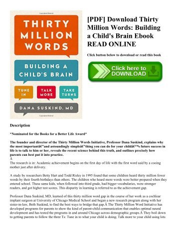 [PDF] Download Thirty Million Words: Building a Child's Brain Ebook READ ONLINE