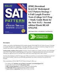KALLIS Redesigned SAT Pattern Strategy 3rd Edition College SAT Prep + Study Guide Book for the New SAT 6 Full Length Practice Tests
