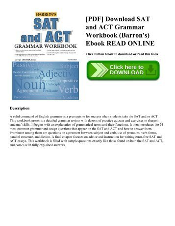 [PDF] Download SAT and ACT Grammar Workbook (Barron's) Ebook READ ONLINE