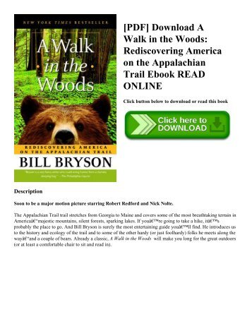 [PDF] Download A Walk in the Woods: Rediscovering America on the Appalachian Trail Ebook READ ONLINE