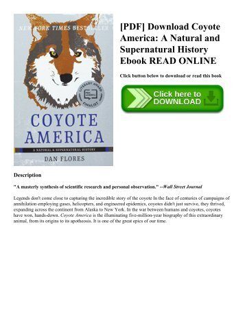 [PDF] Download Coyote America: A Natural and Supernatural History Ebook READ ONLINE