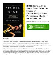 [PDF] Download The Sports Gene: Inside the Science of Extraordinary Athletic Performance Ebook READ ONLINE