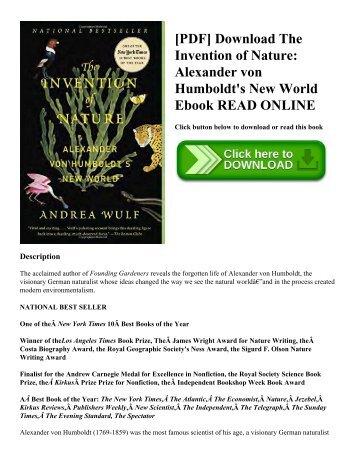 [PDF] Download The Invention of Nature: Alexander von Humboldt's New World Ebook READ ONLINE