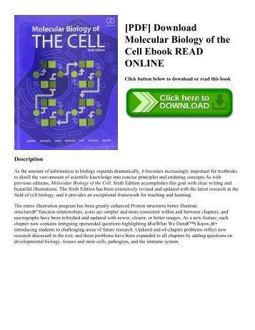 [PDF] Download Molecular Biology of the Cell Ebook READ ONLINE
