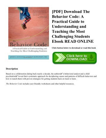 [PDF] Download The Behavior Code: A Practical Guide to Understanding and Teaching the Most Challenging Students Ebook READ ONLINE