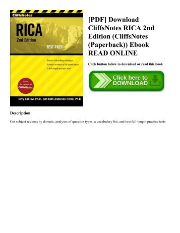 [PDF] Download CliffsNotes RICA 2nd Edition (CliffsNotes (Paperback)) Ebook READ ONLINE