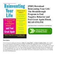 [PDF] Download Reinventing Your Life: The Breakthrough Program to End Negative Behavior and Feel Great Again Ebook READ ONLINE