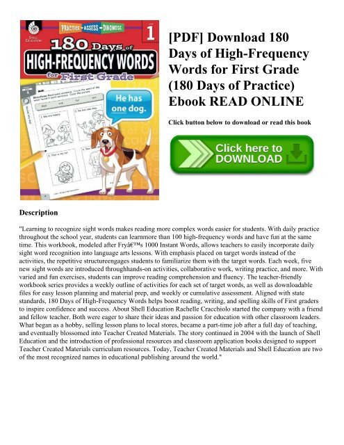 Pdf Download 180 Days Of High Frequency Words For First