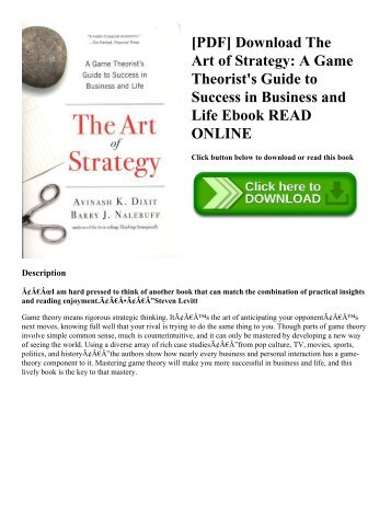 Pdf download a random walk down wall street the time tested pdf download the art of strategy a game theorists guide to success in fandeluxe Choice Image