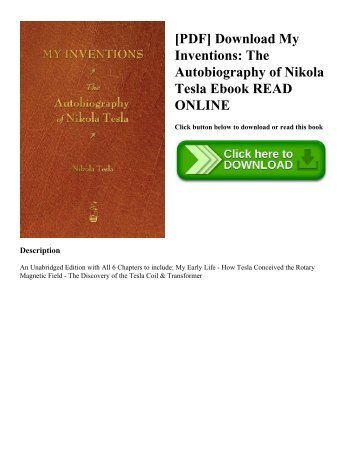 [PDF] Download My Inventions The Autobiography of Nikola Tesla Ebook READ ONLINE