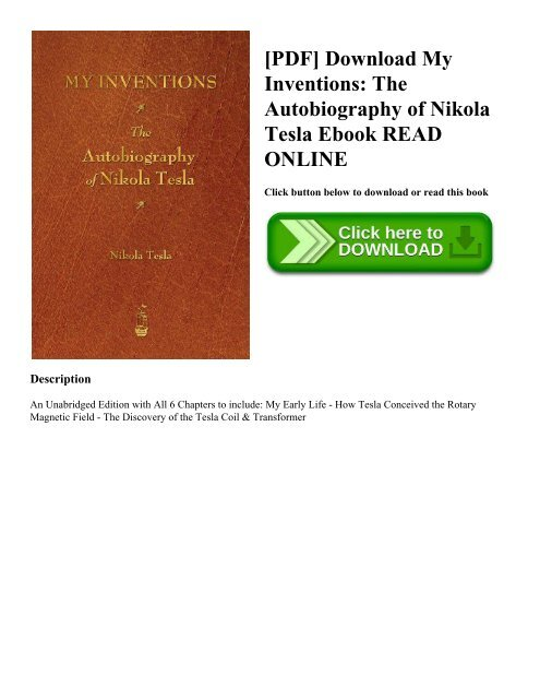Pdf Download My Inventions The Autobiography Of Nikola